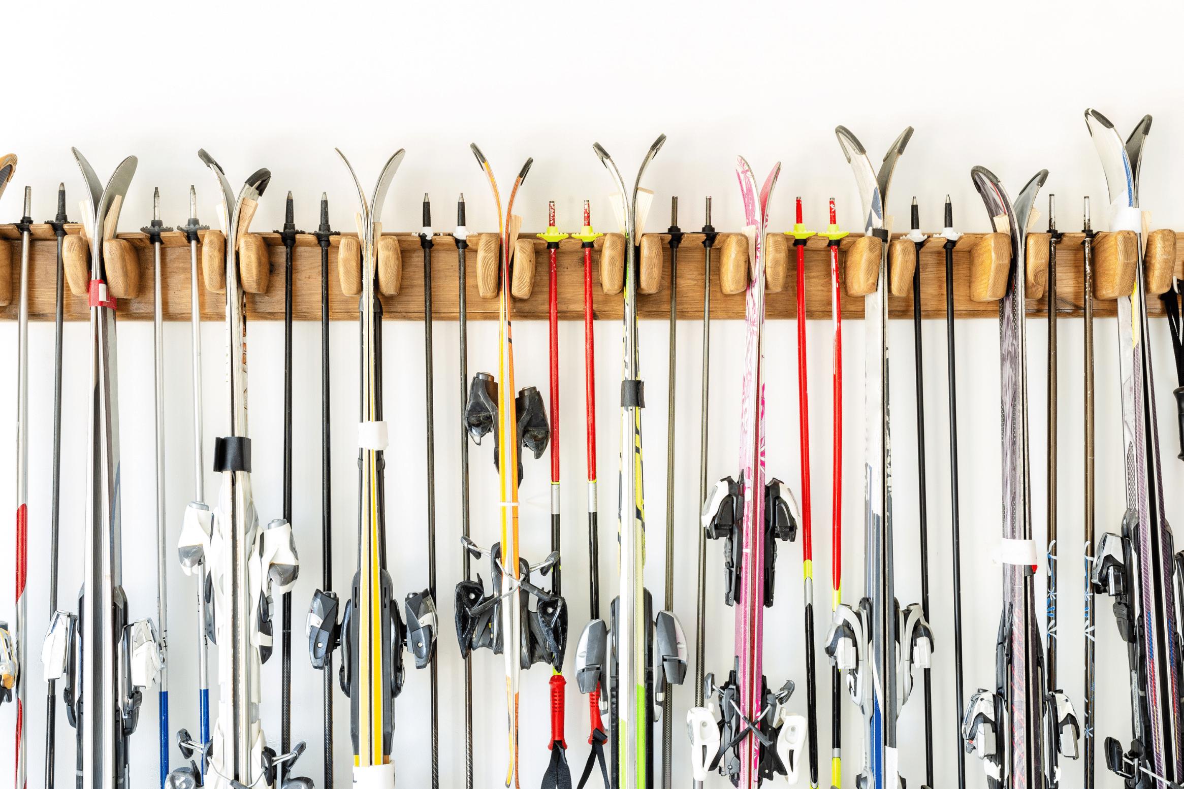wooden ski rack on wall